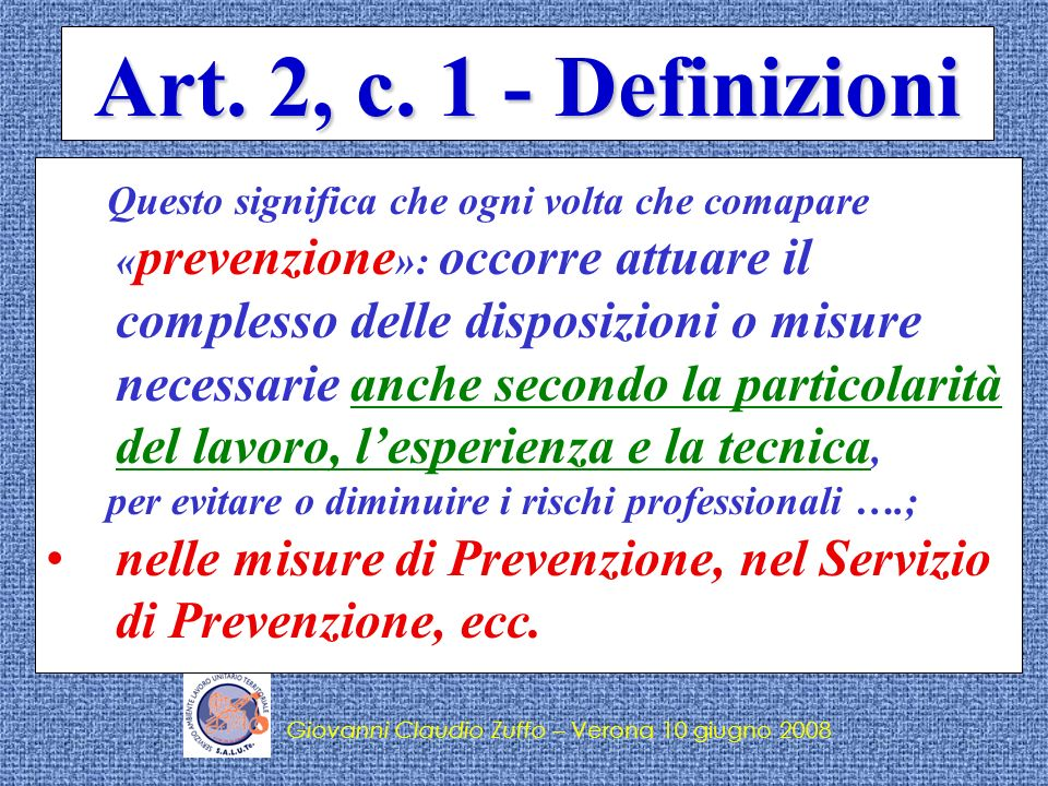 Art. 2, c. 1 - Definizioni