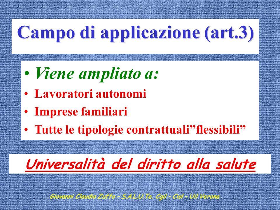 Campo di applicazione (art.3) Universalità del diritto alla salute