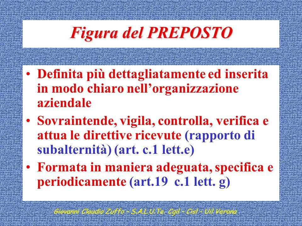 Figura del PREPOSTO Definita più dettagliatamente ed inserita in modo chiaro nell'organizzazione aziendale.
