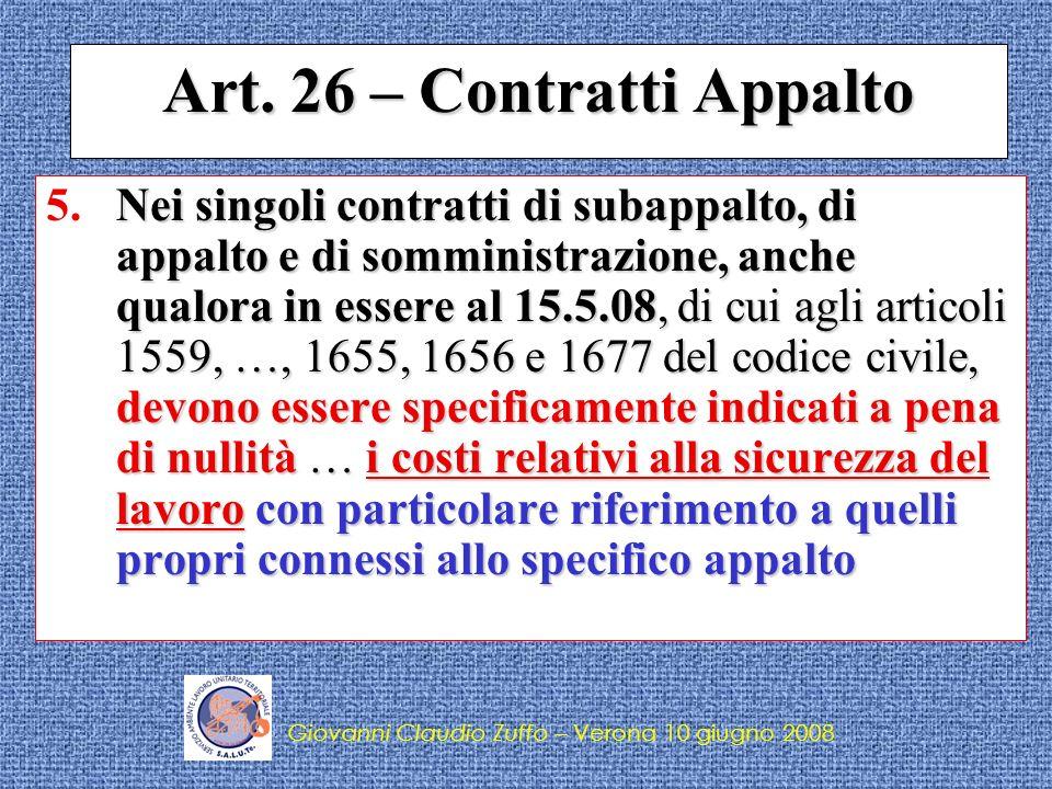 Art. 26 – Contratti Appalto