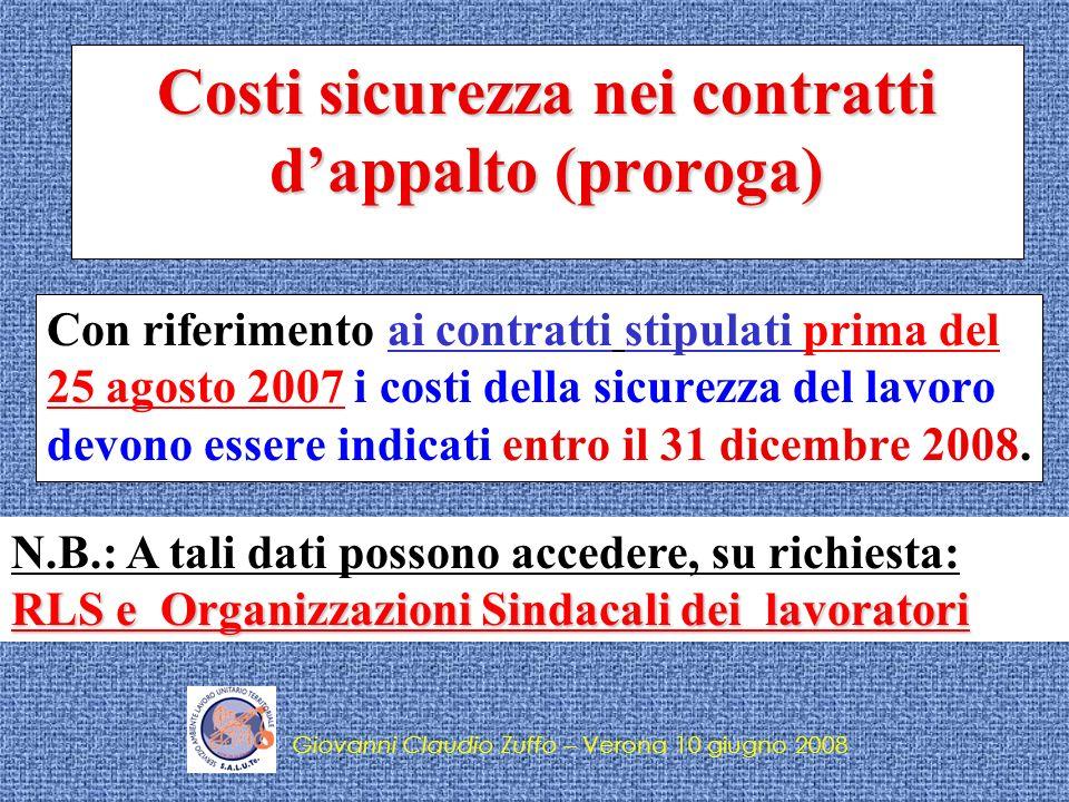 Costi sicurezza nei contratti d'appalto (proroga)