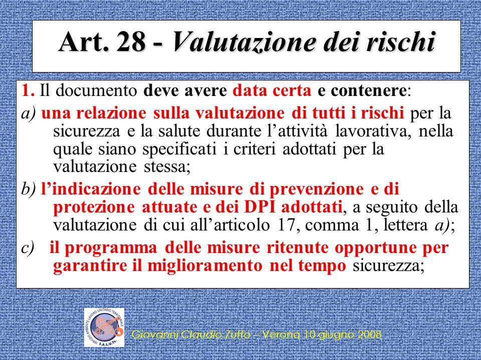Art. 28 - Valutazione dei rischi