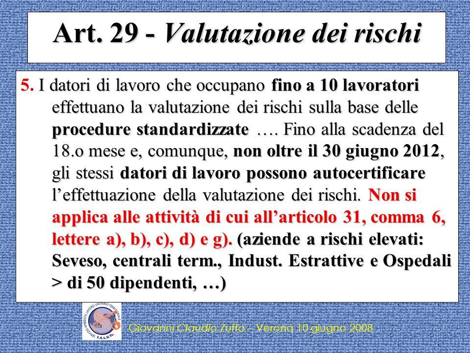 Art. 29 - Valutazione dei rischi