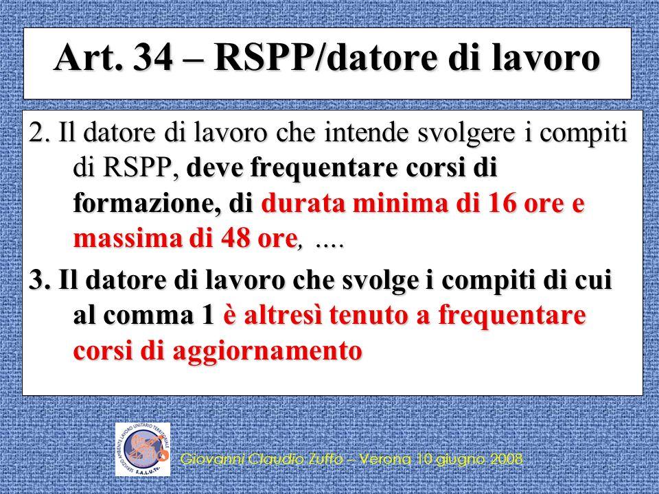 Art. 34 – RSPP/datore di lavoro