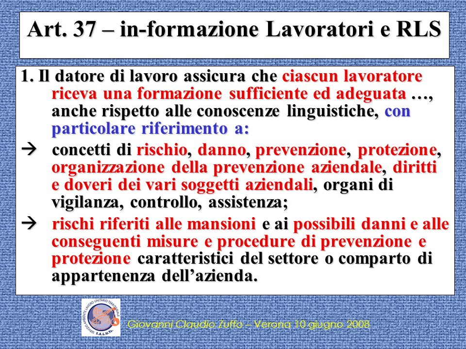 Art. 37 – in-formazione Lavoratori e RLS