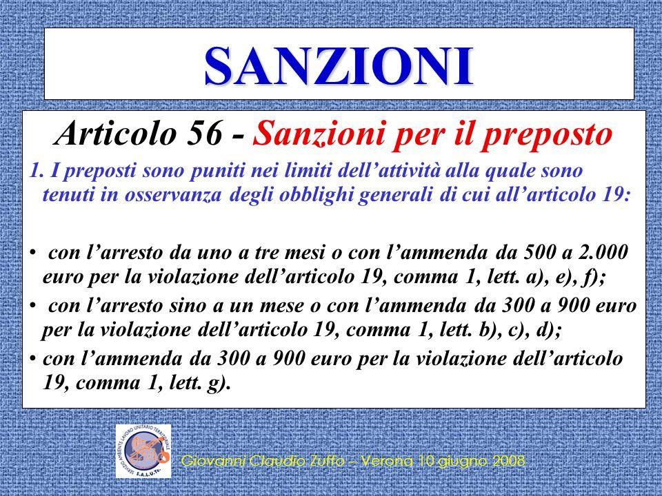Articolo 56 - Sanzioni per il preposto