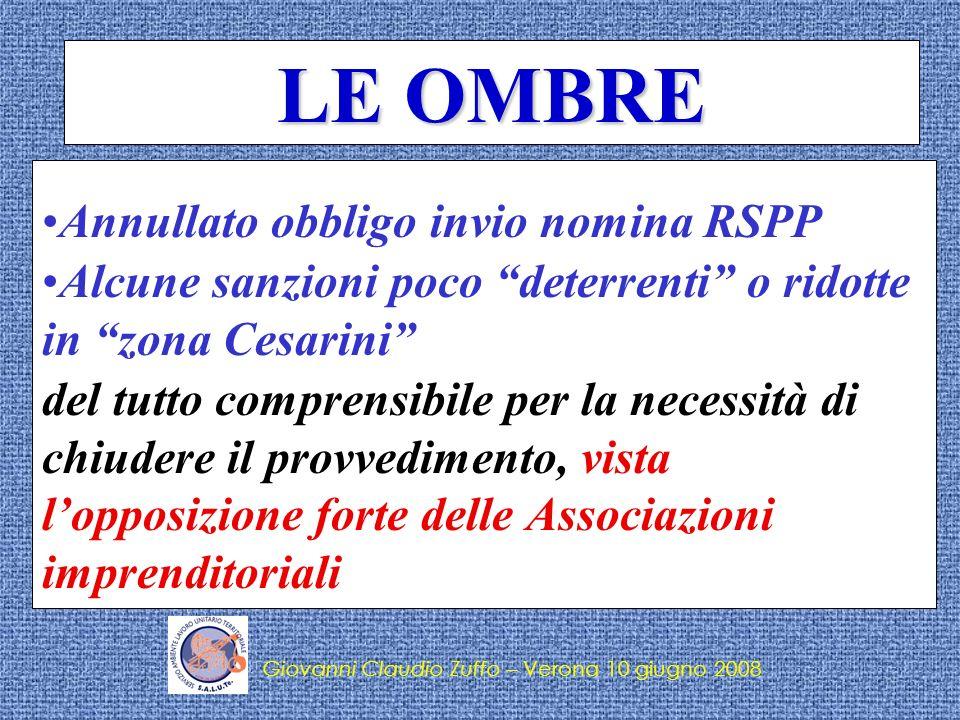 LE OMBRE Annullato obbligo invio nomina RSPP