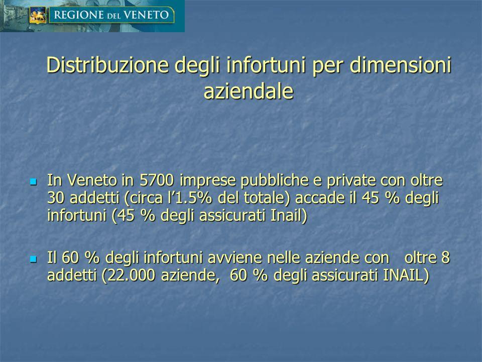 Distribuzione degli infortuni per dimensioni aziendale