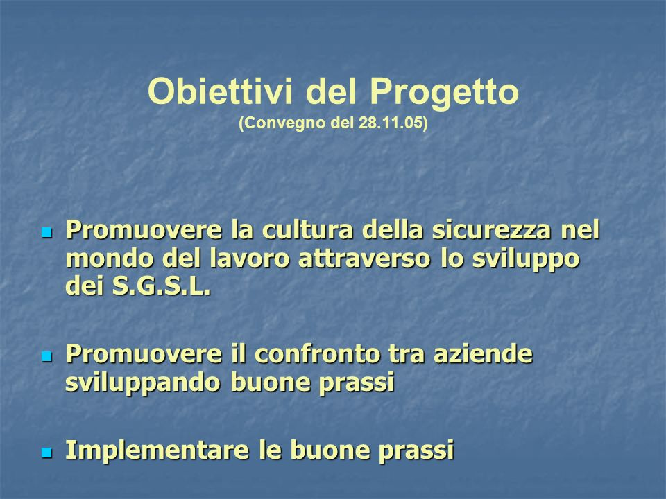 Obiettivi del Progetto (Convegno del 28.11.05)