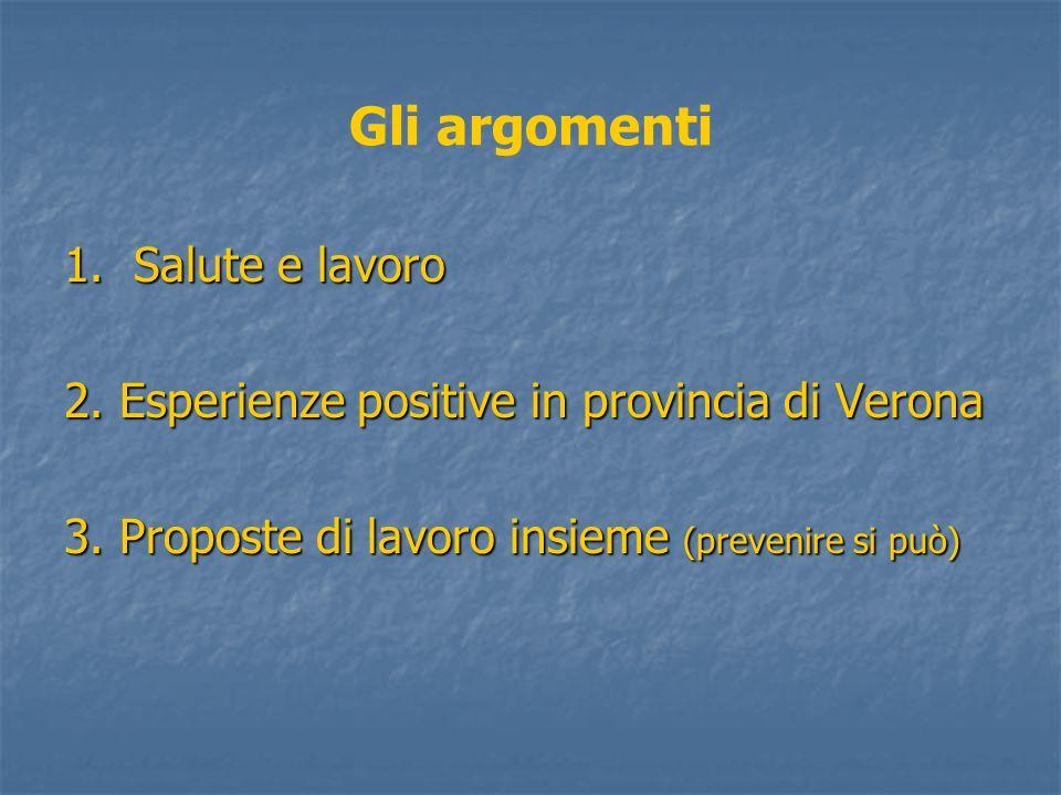 Gli argomenti 1. Salute e lavoro
