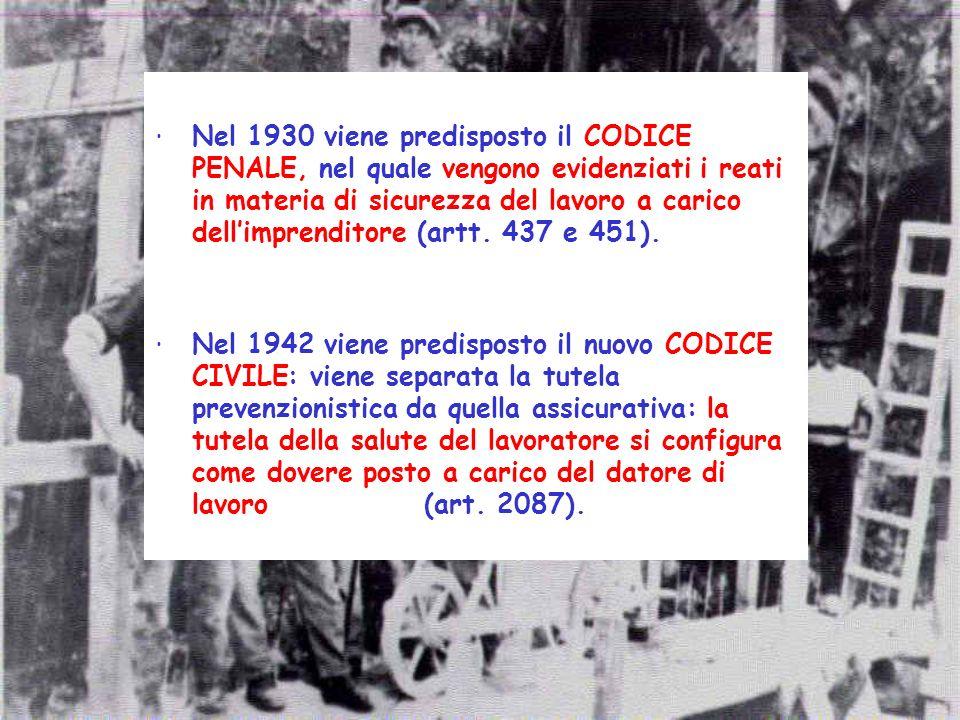 Nel 1930 viene predisposto il CODICE PENALE, nel quale