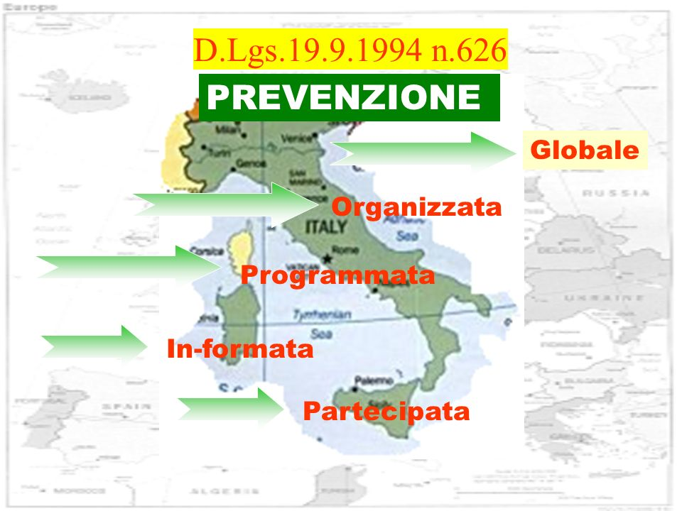 D.Lgs.19.9.1994 n.626 PREVENZIONE Globale Organizzata Programmata