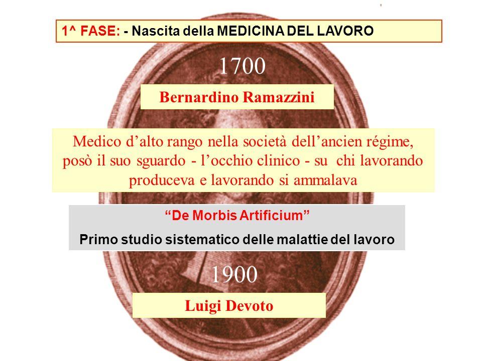 1^ FASE: - Nascita della MEDICINA DEL LAVORO