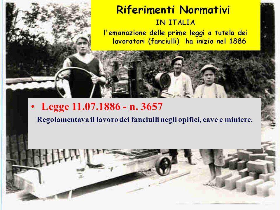 Legge 11.07.1886 - n. 3657 Regolamentava il lavoro dei fanciulli negli opifici, cave e miniere.