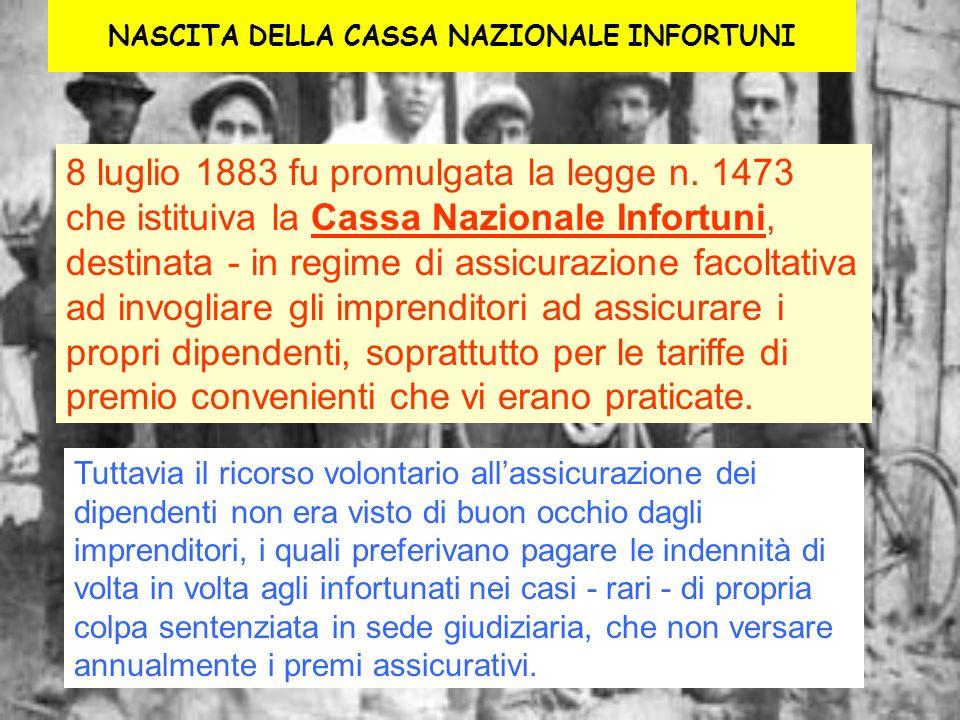 NASCITA DELLA CASSA NAZIONALE INFORTUNI