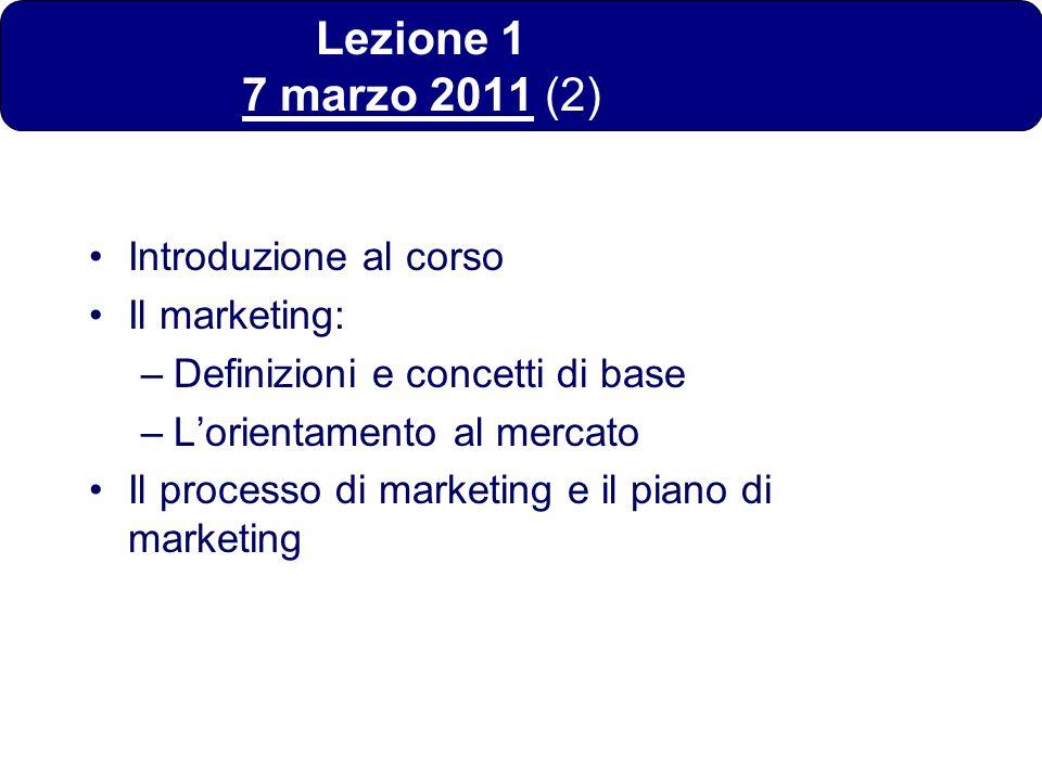 Lezione 1 7 marzo 2011 (2) Introduzione al corso Il marketing: