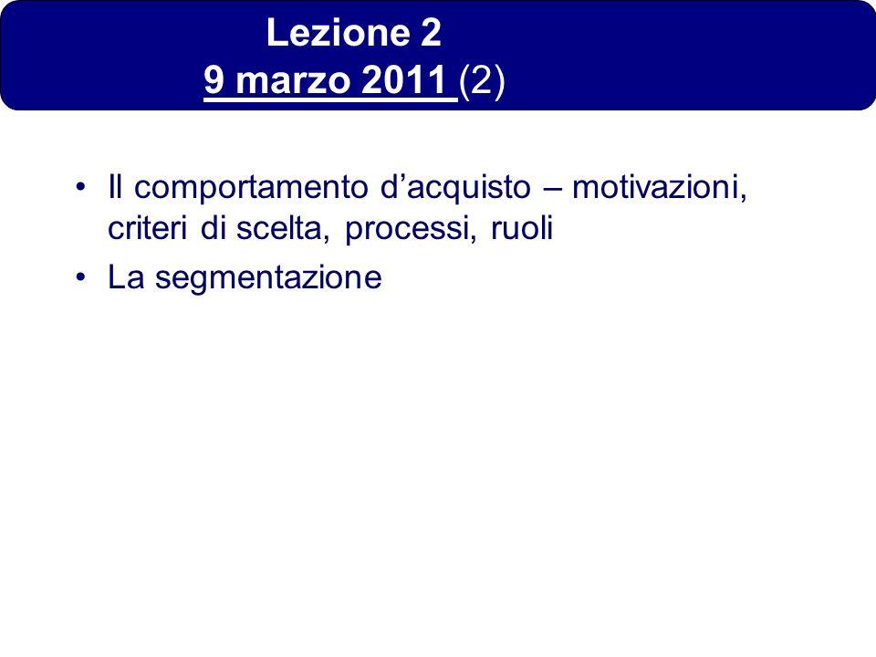 Lezione 2 9 marzo 2011 (2) Il comportamento d'acquisto – motivazioni, criteri di scelta, processi, ruoli.