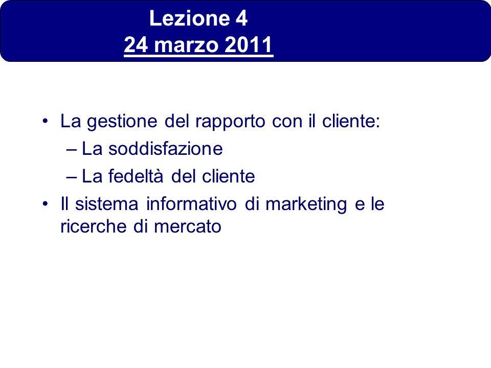 Lezione 4 24 marzo 2011 La gestione del rapporto con il cliente: