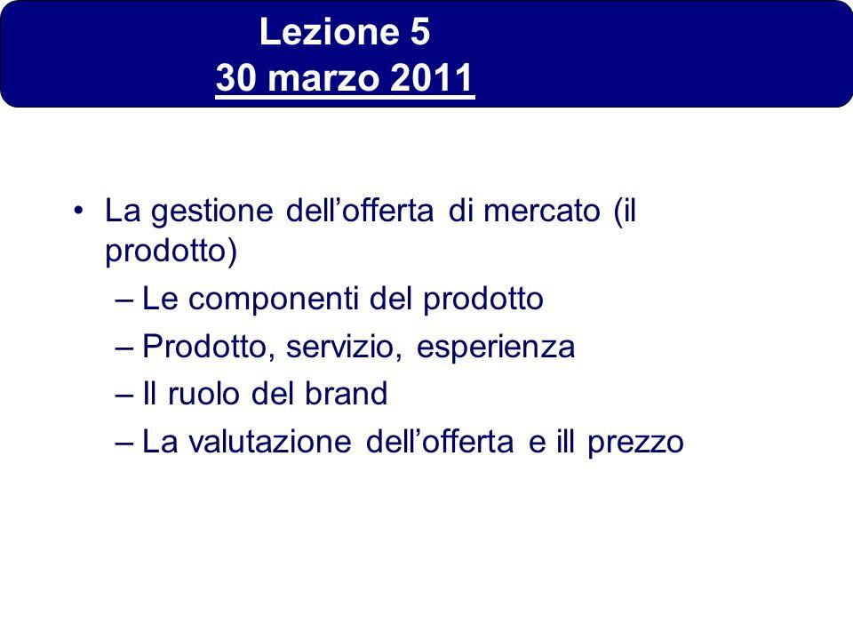 Lezione 5 30 marzo 2011 La gestione dell'offerta di mercato (il prodotto) Le componenti del prodotto.