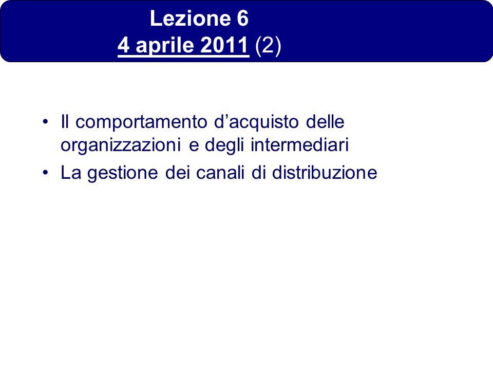 Lezione 6 4 aprile 2011 (2) Il comportamento d'acquisto delle organizzazioni e degli intermediari.