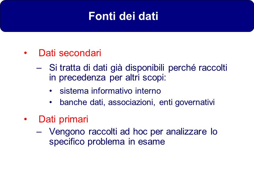 Fonti dei dati Dati secondari Dati primari