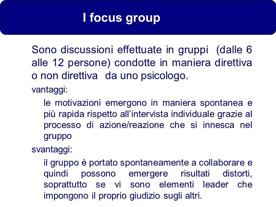 I focus group Sono discussioni effettuate in gruppi (dalle 6 alle 12 persone) condotte in maniera direttiva o non direttiva da uno psicologo.