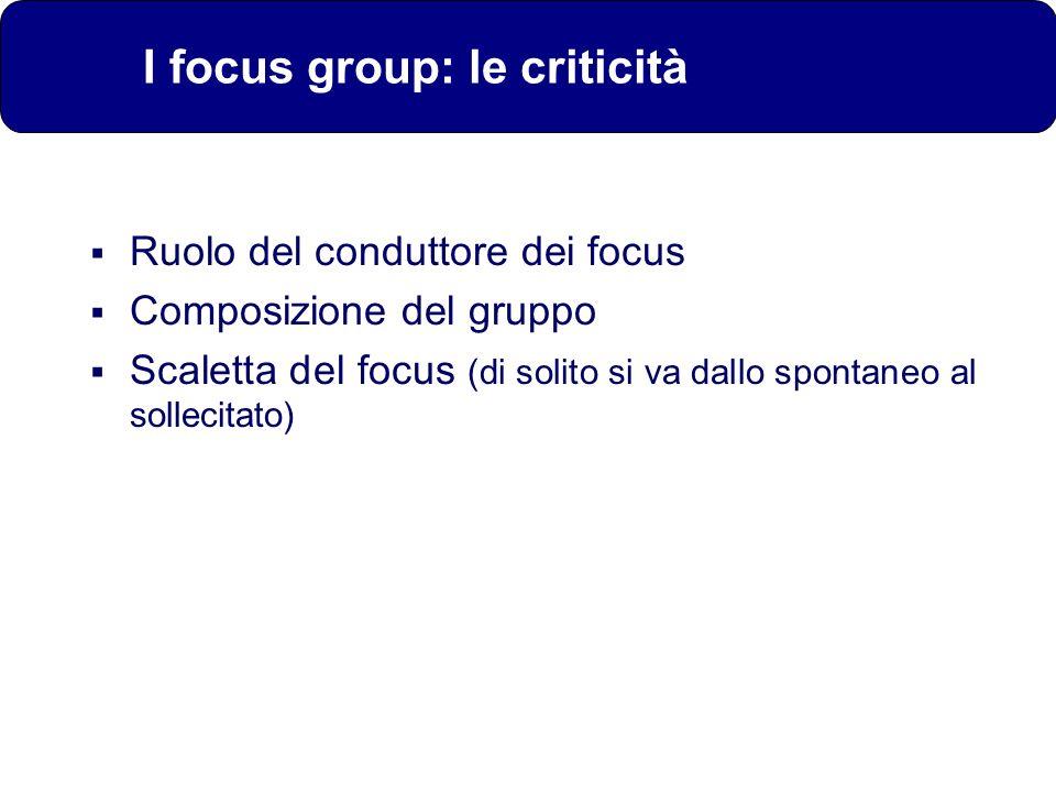 I focus group: le criticità