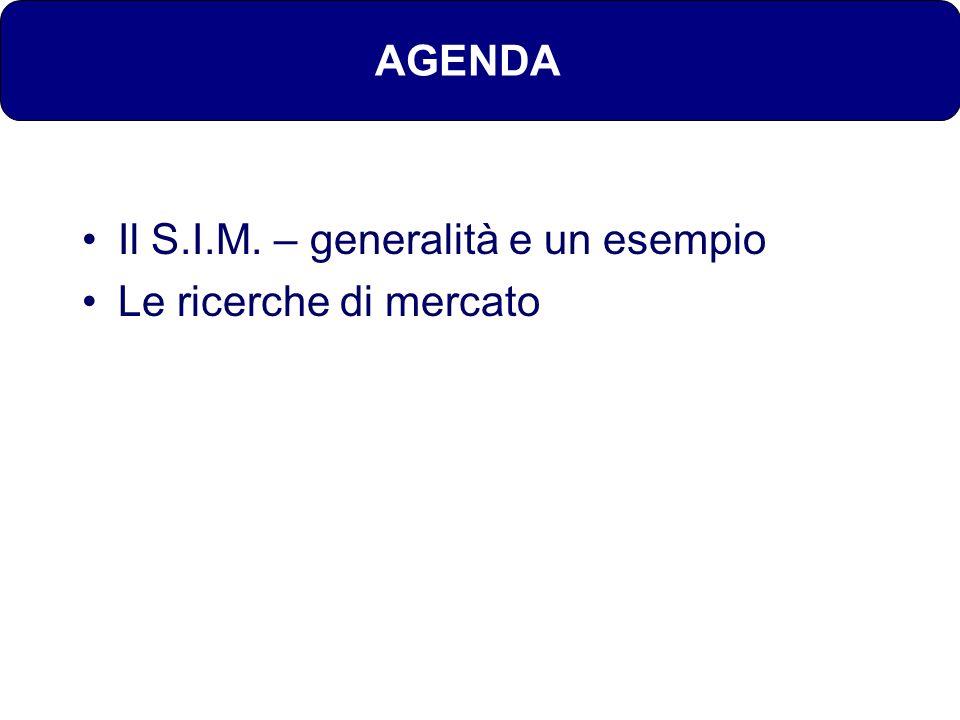AGENDA Il S.I.M. – generalità e un esempio Le ricerche di mercato