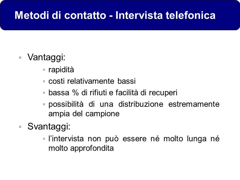 Metodi di contatto - Intervista telefonica