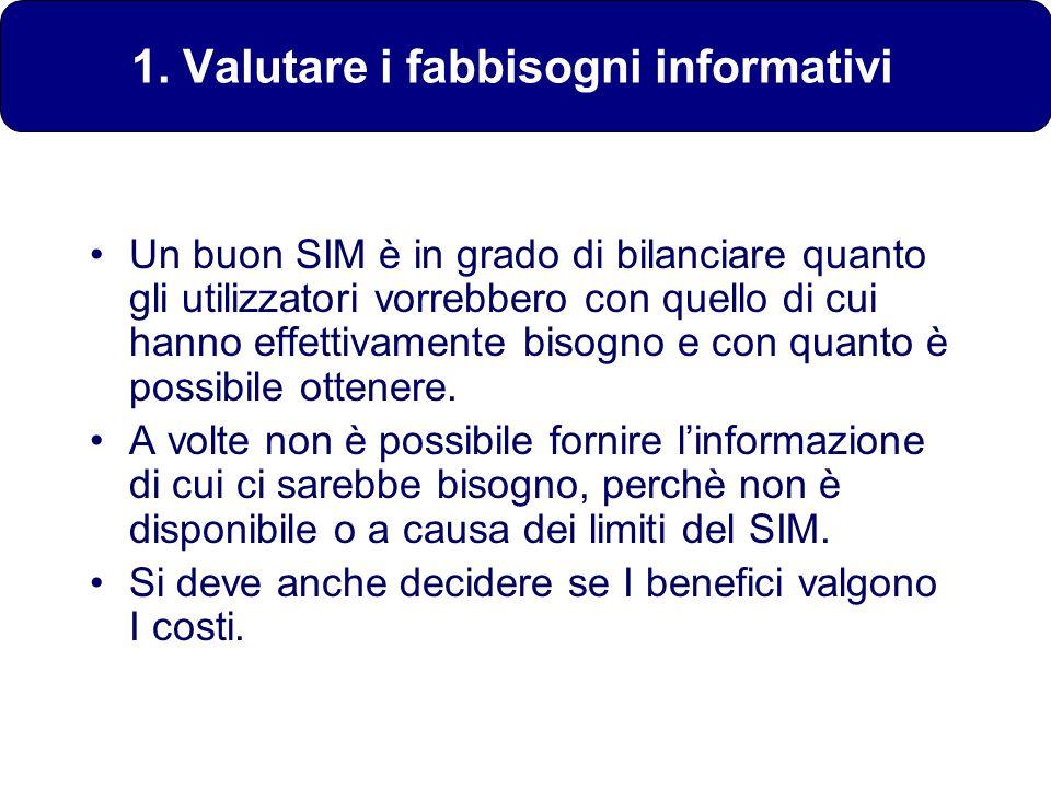 1. Valutare i fabbisogni informativi