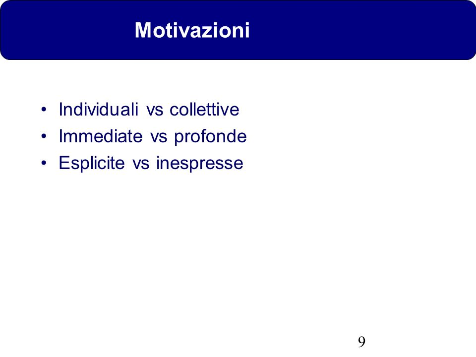 Motivazioni Individuali vs collettive Immediate vs profonde