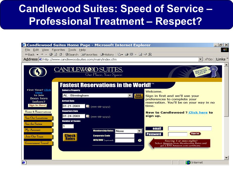 Candlewood Suites: Speed of Service –Professional Treatment – Respect