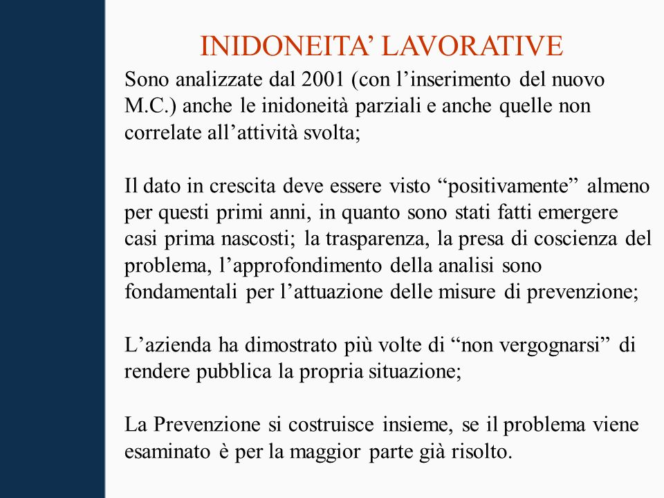 INIDONEITA' LAVORATIVE