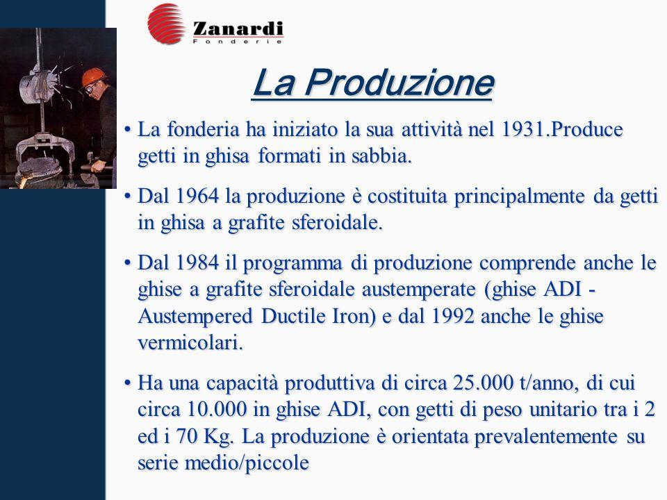 La Produzione La fonderia ha iniziato la sua attività nel 1931.Produce getti in ghisa formati in sabbia.