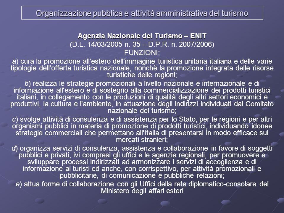 Organizzazione pubblica e attività amministrativa del turismo
