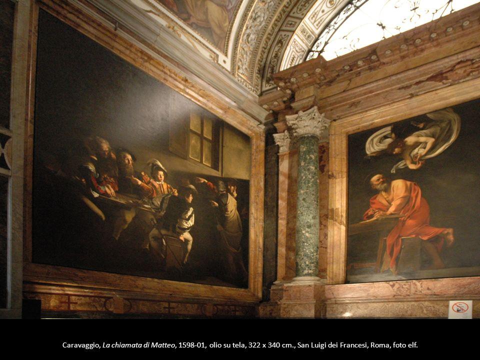 Caravaggio, La chiamata di Matteo, 1598-01, olio su tela, 322 x 340 cm