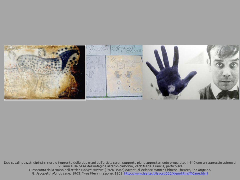 Due cavalli pezzati dipinti in nero e impronte delle due mani dell'artista su un supporto piano appositamente preparato, 4.640 con un'approssimazione di 390 anni sulla base dell'indagine al radio-carbonio, Pech Merle, Francia, particolare.