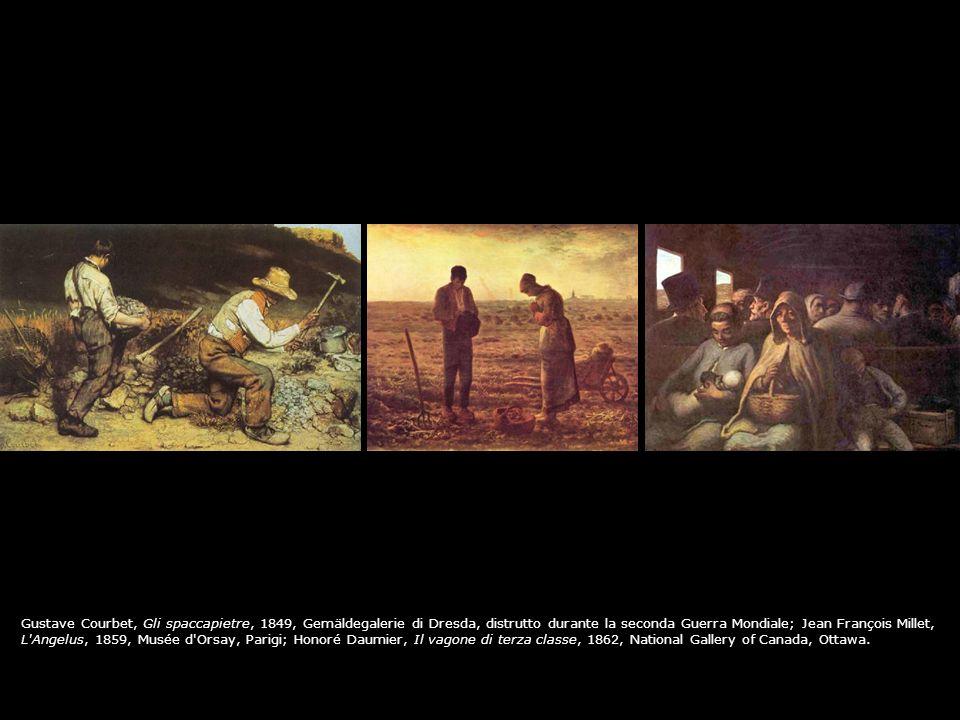 Gustave Courbet, Gli spaccapietre, 1849, Gemäldegalerie di Dresda, distrutto durante la seconda Guerra Mondiale; Jean François Millet,