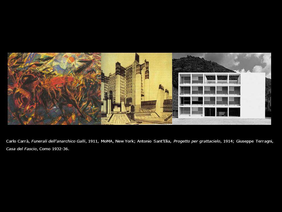 Carlo Carrà, Funerali dell anarchico Galli, 1911, MoMA, New York; Antonio Sant'Elia, Progetto per grattacielo, 1914; Giuseppe Terragni,