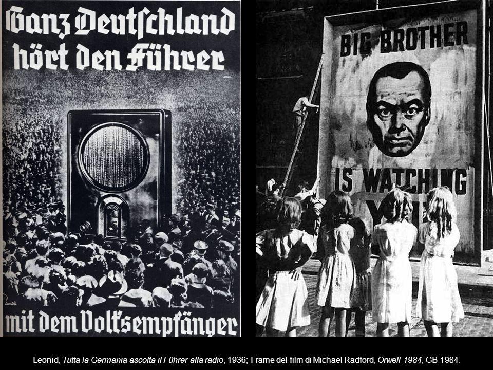Leonid, Tutta la Germania ascolta il Führer alla radio, 1936; Frame del film di Michael Radford, Orwell 1984, GB 1984.
