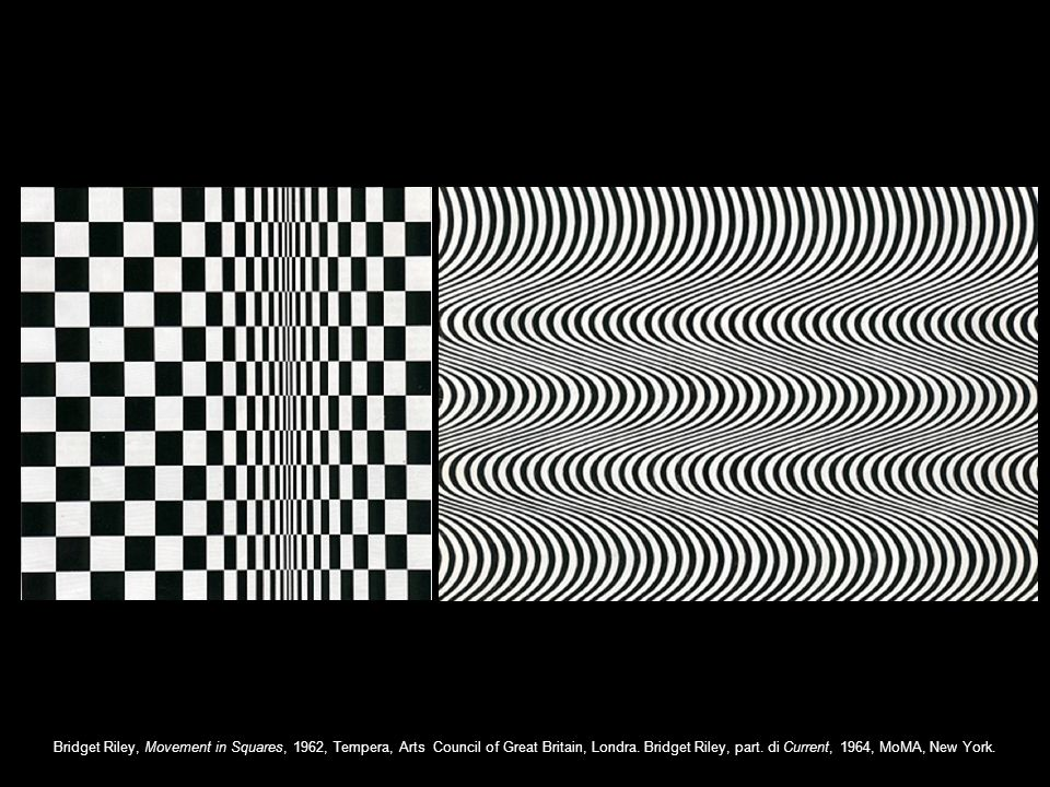 Bridget Riley, Movement in Squares, 1962, Tempera, Arts Council of Great Britain, Londra.