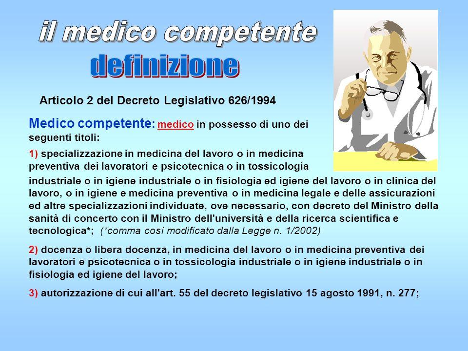 il medico competente definizione