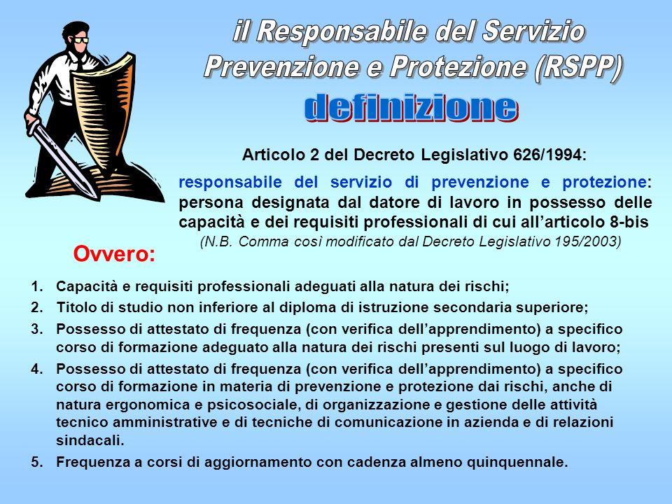 Articolo 2 del Decreto Legislativo 626/1994: