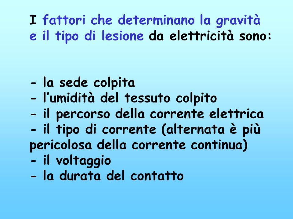 I fattori che determinano la gravità e il tipo di lesione da elettricità sono: