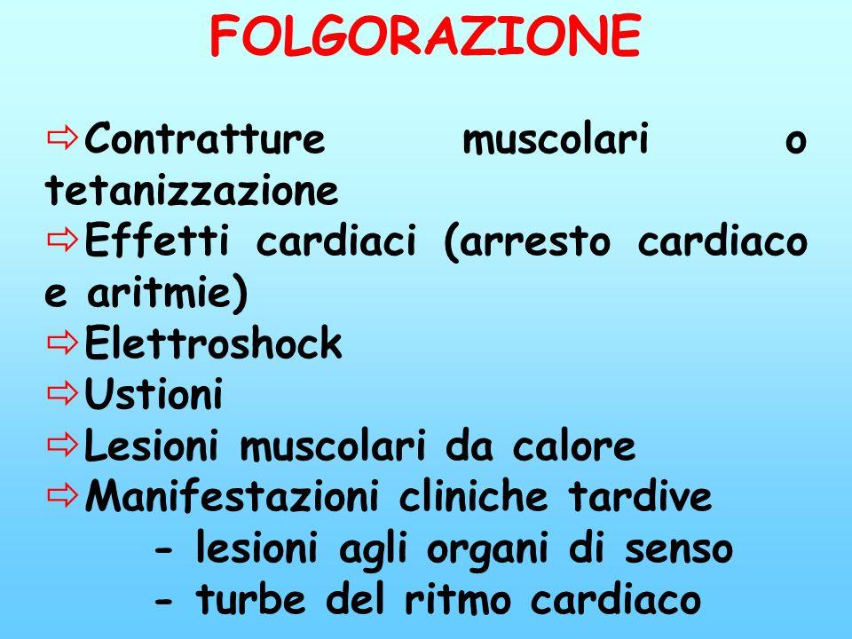 FOLGORAZIONE Contratture muscolari o tetanizzazione