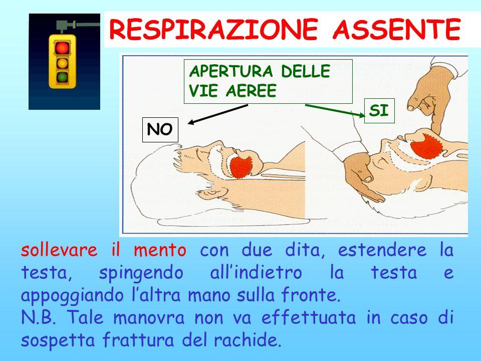 RESPIRAZIONE ASSENTE APERTURA DELLE. VIE AEREE. SI. NO. Se l'incosciente non respira, si entra nella estrema urgenza.