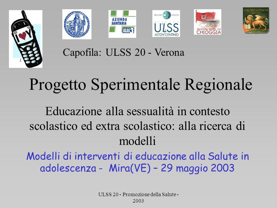 Progetto Regionale Sperimentale di Educazione alla Sessulità