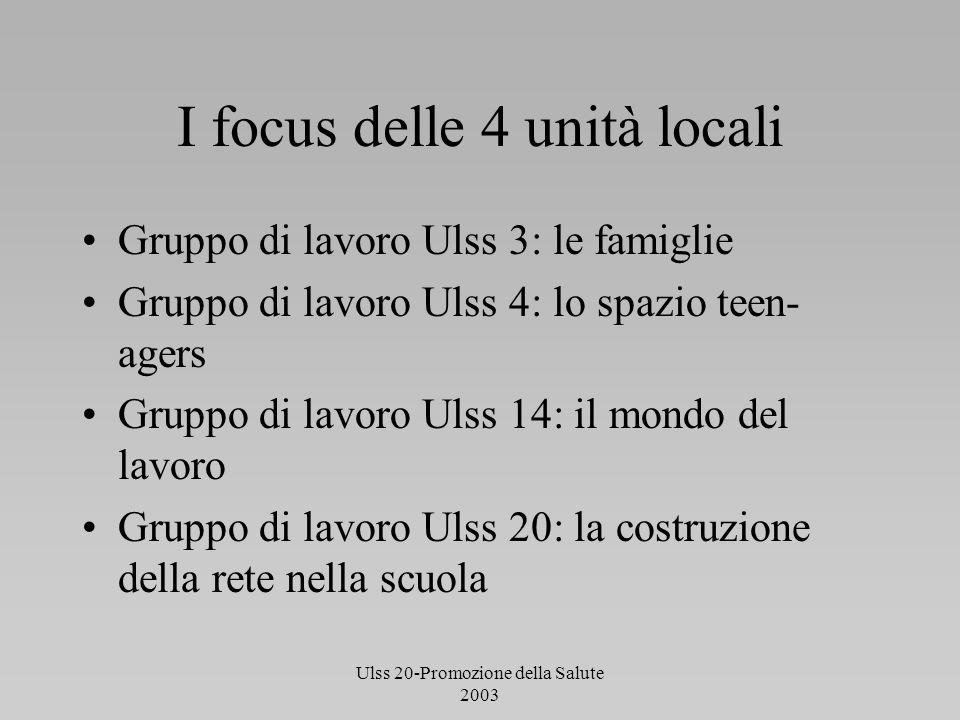 I focus delle 4 unità locali