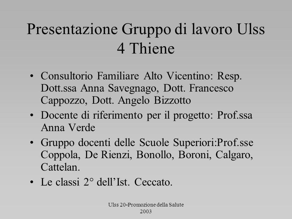 Presentazione Gruppo di lavoro Ulss 4 Thiene