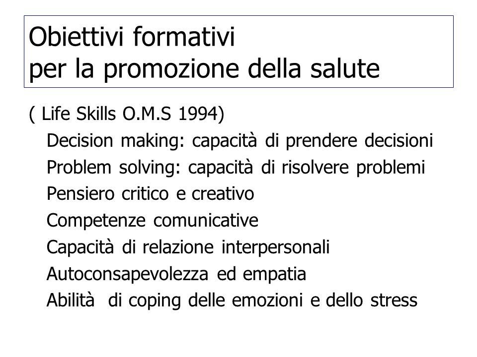 Obiettivi formativi per la promozione della salute